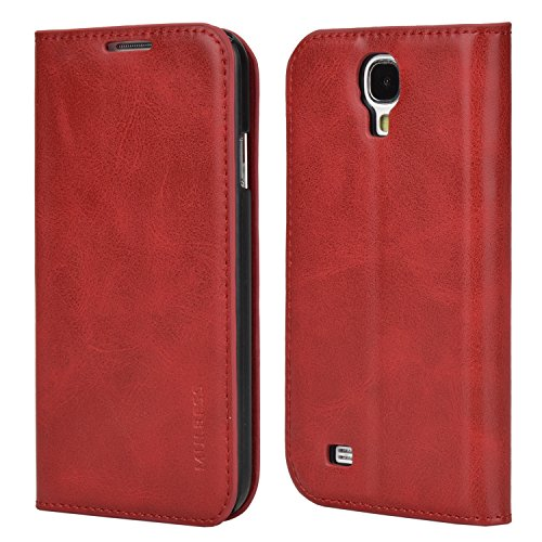 Samsung S4 Mini Case,Mulbess PU Leather Wallet Case with Kick Stand for Samsung Galaxy S4 Mini,Wine Red