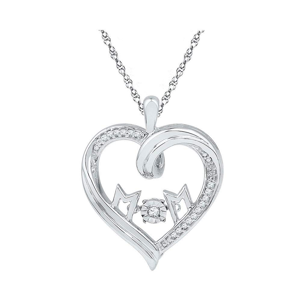 Sterling Silver Womens Round Diamond Heart Mom Moving Twinkle Pendant 1 12 Cttw