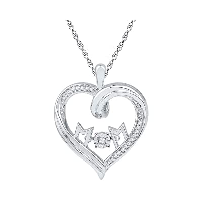 Sterling Silver Womens Round Diamond Mom Mother Heart Pendant 1//12 Cttw