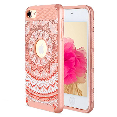 iPod touch 6th Generation Case, iPod touch 5th Generation Case, Alkax Flower Design Case Heavy Duty Impact Rubber & Hard Cover Hybrid Protective Bumper for iPod Touch 6 5 +Stylus (Rose Gold)