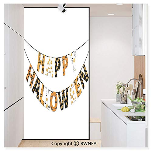 RWN Film Decorative Window Films Kitchen Glass Sticker Happy Halloween Banner Greetings Pumpkins Skull Cross Bones Bats Pennant Waterproof Anti-UV for Home and Office 11.8
