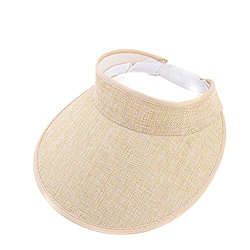Sanyyanlsy Women Fashion Solid Color Elastic Backstrap Visor Adjustable Sun Protection Sunscreen Hat Summer Sun Cap Beige
