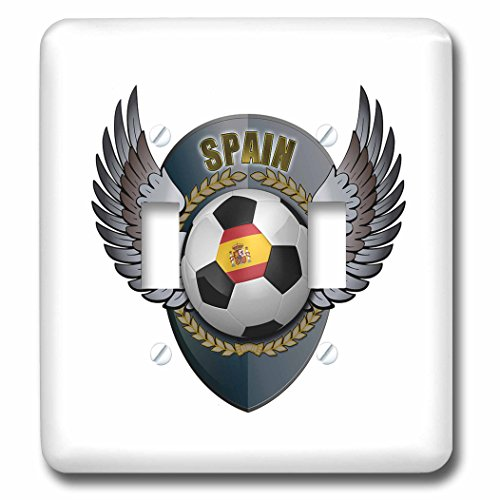 3dRose lsp_158042_2 Spain Soccer Ball with Crest Team Football Spanish Double Toggle Switch by 3dRose
