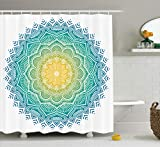 Blue and Yellow Shower Curtain Ambesonne Mandala Decor Collection, Aquatic Color Mandala Pattern with Sun in Center Indian Art Meditation Zen Theme, Polyester Fabric Bathroom Shower Curtain Set with Hooks, Yellow Green Blue