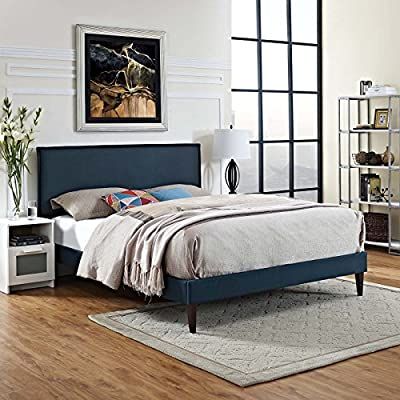 Modway King, Azure - BEDROOM REFRESH- Elevate a spacious master suite with mid-century style. Resting on squared tapered legs, the clean lines and simple silhouette of this platform bed frame make it a modern classic UPHOLSTERED BED FRAME - Soft polyester fabric covers the frame of this sleek upholstered bed. Minimalistic yet elegant, this low profile platform bed is a durable addition supporting up to 1100 lbs. LASTING QUALITY - Boasting a sturdy wood frame, this mid-century modern bed comes with reinforced center rails with support legs for enhanced stability. Non-marking foot caps help to protect flooring - bedroom-furniture, bed-frames, bedroom - 51ylaW8d6sL. SS400  -