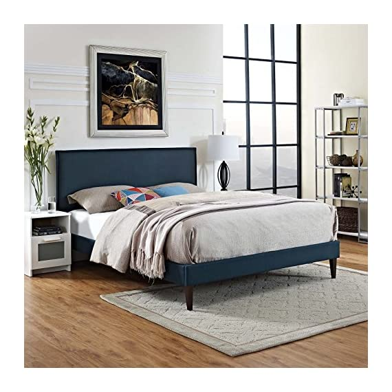Modway King, Azure - BEDROOM REFRESH- Elevate a spacious master suite with mid-century style. Resting on squared tapered legs, the clean lines and simple silhouette of this platform bed frame make it a modern classic UPHOLSTERED BED FRAME - Soft polyester fabric covers the frame of this sleek upholstered bed. Minimalistic yet elegant, this low profile platform bed is a durable addition supporting up to 1100 lbs. LASTING QUALITY - Boasting a sturdy wood frame, this mid-century modern bed comes with reinforced center rails with support legs for enhanced stability. Non-marking foot caps help to protect flooring - bedroom-furniture, bedroom, bed-frames - 51ylaW8d6sL. SS570  -