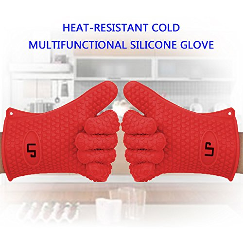 LP Silicone Heat Resistant Grilling BBQ Gloves (Pair) for Cooking Camping Baking Smoking Potholder Fireplace Red
