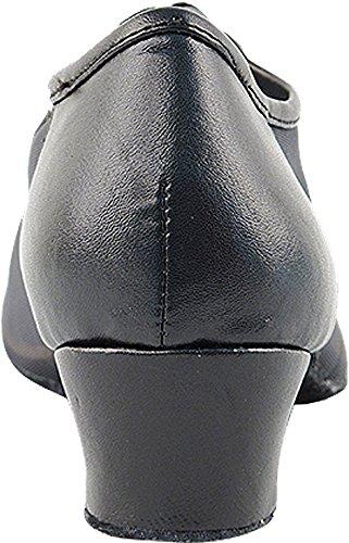 Kvinders Balsal Dansesko Salsa Latin Praksis Sko 2002eb Komfortable-meget Fint 1.5 [bundt Af 5] Sort Læder & Sort Maske 03xujLUA0