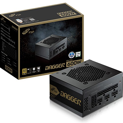 FSP Dagger 600W Mini ITX Solution/SFX 12V/Micro ATX 80 Plus Gold Certified Full Modular VR/4K Ready Gaming Power Supply (SDA600)