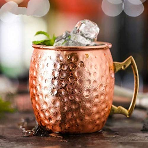 ORIEN CRAFT Moscow Mule Copper Mugs Set of 4 Pure Solid Handcrafted in India Moscow Mule Cups Set of 4 (16 OZ Each Mugs) - Set of 4 Copper Cocktail Mugs with 4 Straws and 1 Jigger!