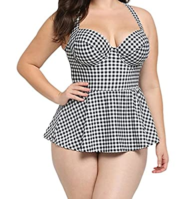 FQHOME Womens Plus Size Gingham Skirt Top Tankini Swimsuit