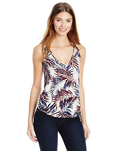 Lucky Brand Women's Palm Leaf Tank Top, Natural Multi, Large