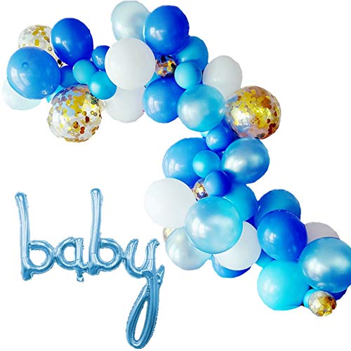 Mapple Balloon Baby Script Letter Balloom Garland Kit Arch Garland for Baby Shower Gender Reveal Party Photo Shoots,Blue