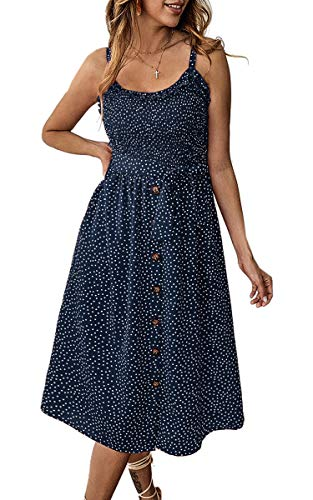 Angashion Women's Dresses - Summer Boho Floral Spaghetti Strap Button Down Belt Swing A line Midi Dress with Pockets 014 Navy Blue M