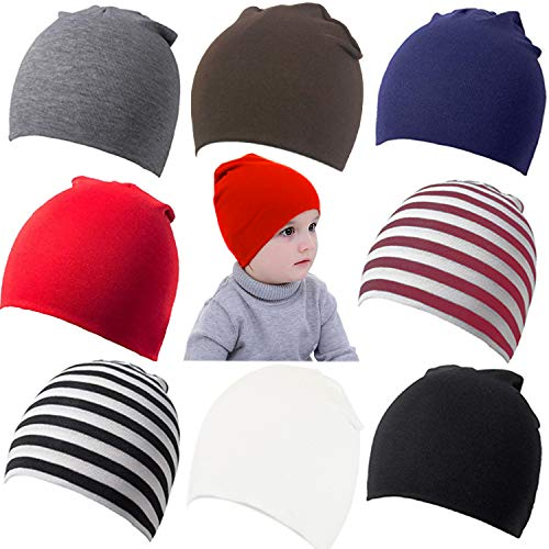 Zomme 8 Pack Baby Infant Beanies Hat Cotton Knit Toddler Newborn Beanies Cap (A-8PACK, Small/0-12 Months)