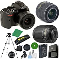 Nikon D5200 - International Version (No Warranty), 18-55mm f/3.5-5.6 DX VR, Nikon 55-200mm f4-5.6G ED DX Nikkor, Tripod, 6pc Cleaning Set