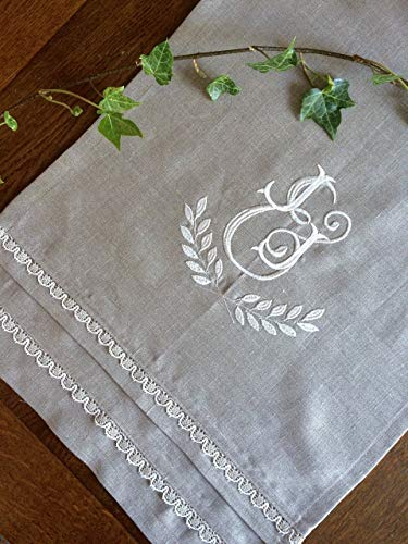 cking Monogram Natural Fine Linen Table Runner Embroidered Buffet Cloth Table Topper 50 inches long ()