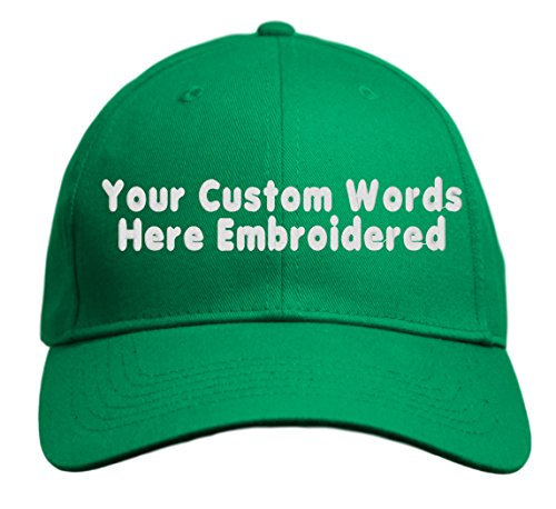 Add Baseball - Custom Hat, Embroidered. Your Own Text. Adjustable Back. Curved Bill (Kelly Green)