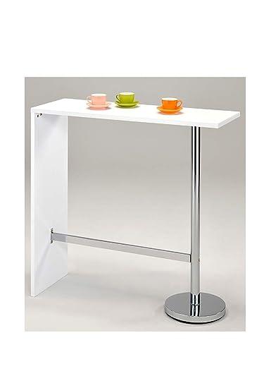 Tavolo Alto Bar Bianco.Meubletmoi Tavolo Alto Da Bar Bancone Piano Di Lavoro Modello Kos Colore Bianco Mangia In Piedi Cucina