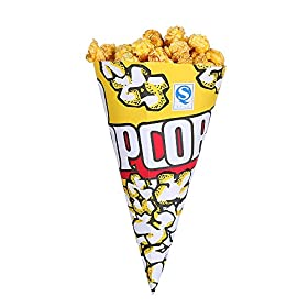 Yellow Popcorn Paper Bags .Great For The Movies, Food Kiosk, Food Stand, Ice Cream Truck And Shop, Street Fairs Etc. (Conical-200ct)