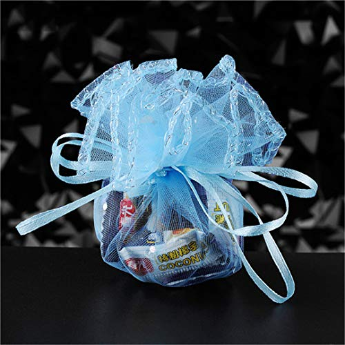 50Pcs Colorful Wedding Favors Gifts Round Organza Bag Jewelry Pouches Gauze Element Bag Wedding Party Decoration 5Z Light Blue