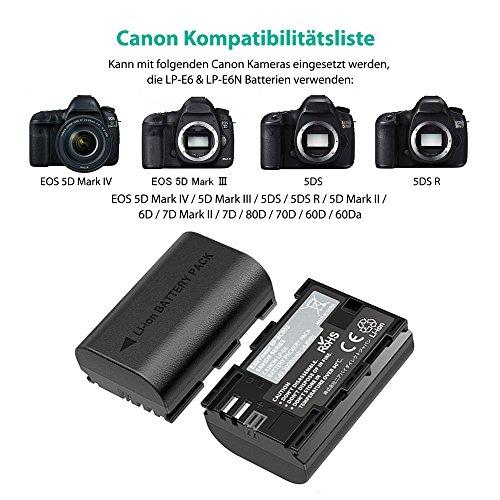 2x Batteria LP-E6N per Canon EOS 5D Mark II, 5D Mark III, 5DS, 5DS R, EOS 6D