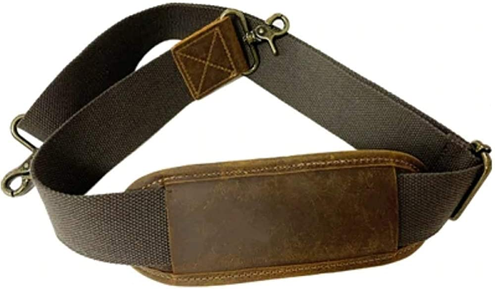 Padded Shoulder Strap Replacement Cowhide Leather Adjustable Straps for Messenger Laptop Travel Bag