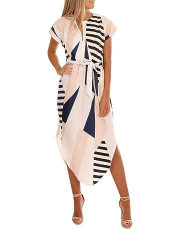 f2d48a020da Caopixx Women Dress,Short Sleeve Graceful Party Long Dress Women V Neck  Printed Irregular Maxi