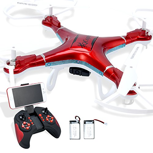 Quadcopter Drone With Camera Live Video  Drones Fpv 1080P Hd Wifi Camera With Remote Control  Free Extra Battery And Quadcopters Crash Replacement Kit With Led Lights  Easy Use For Beginners Kids Red