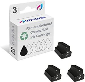 HOTCOLOR 3 Pack 02 Black Remanufactured Inkjet Cartridges for HP 02XL HP02XL HP 02 Black C8721WN#140 Ink Cartridge