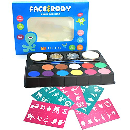 Professional Face and Body Paint Kit for Kids and Adults - 100% Water based, FDA-compliant, Safe and Non-Toxic Set – Premium Quality - Includes 12 Vibrant Color Palette, 2 Brushes - Skin Tone Colors Autumn Best For