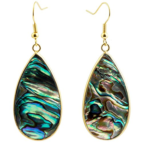 Earrings Abalone Round (SUNYIK Women's Abalone Shell Round Teardrop Dangle Earrings)
