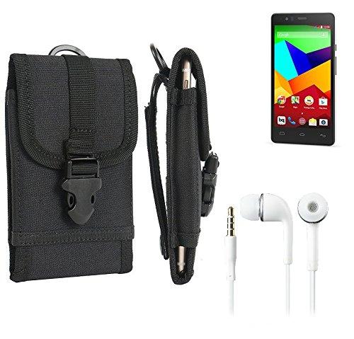 bolsa del cinturón / funda para BQ Readers Aquaris E5 LTE, negro + Auriculares | caja del teléfono cubierta protectora bolso - K-S-Trade (TM)
