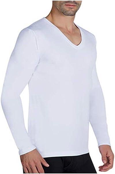 camiseta interior hombre manga larga cuello pico color blanco algodón felpado talla XXL: Amazon.es: Ropa y accesorios