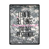 Christian Bible Verse - Philippians 4:13 Camo Camouflage Patterns Blankets, I Can Do All Things Through Christ Soft Fleece Blankets and Throws, Travel Blanket - 58 by 80 Inch