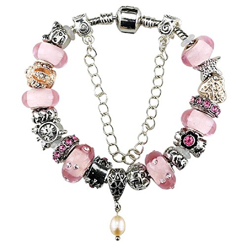 Silver Plated Heart Charm Bracelet with Charms for Pandora Pink Birthday Gift for Girl 10 Year Old and Teenage 7.1 inch Jewelry DIY Hand Made Glass Beads Birthstones October