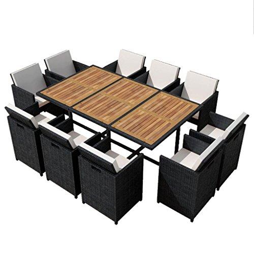 utdoor Garden Dining Set, 10 Chairs Black Poly Rattan Acacia Wood, Space Saving ()