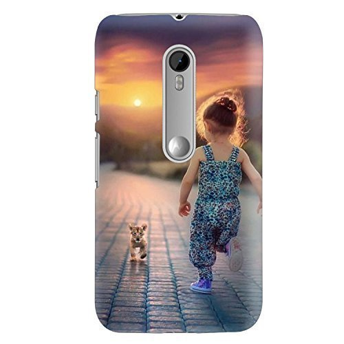 best sneakers fc4f1 c2dfe Clapcart Little Girl with Puppy Printed Back Cover for Moto G 3rd Gen/Moto  G Turbo Edition -Multicolor