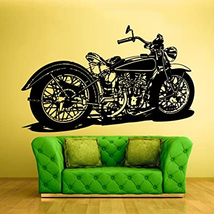 STICKERSFORLIFE Wall Vinyl Sticker Decals Decor Art Bedroom Kids Design Mural Retro Bike Motorcycle Detailed Chopper Custom (Z801)