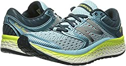 New Balance Women's Fresh Foam 1080v7 Running Shoe, Ozone Blue Glowlime Glow, 7.5 2e Us