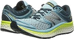 New Balance Women's Fresh Foam 1080v7 Running Shoe, Ozone Blue Glowlime Glow, 7.5 2e Us