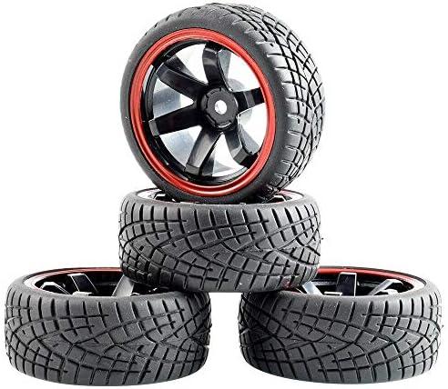 RC 701A-8001 Rubber Tires & Plastic Wheel 4Pcs For HSP HPI 1:10