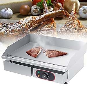 GOTOTOP Acero Inoxidable Eléctrica Plancha para Encimera Parrilla Comercial y Profesional para BBQ Placa Caliente para Asar Freír Huevos Carne Filete ...
