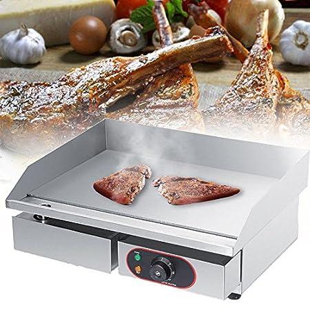 GOTOTOP Plancha Eléctrica de Acero Inoxidable para Encimera Parrilla Comercial y Profesional para BBQ Placa Caliente para Asar Freír Huevos Carne ...