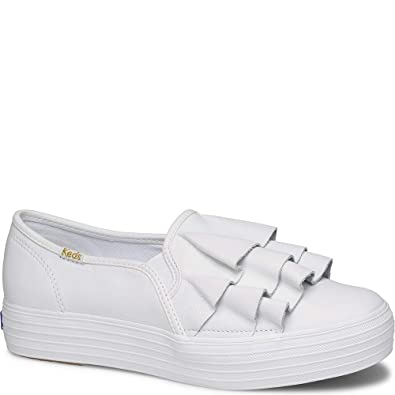91baed747c8 Keds Triple Ruffle Leather Women 6 White