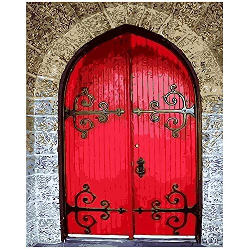 AdoDecor Cuadro de Pintura al oleo de Puerta Antigua por numero Cuadros de Puerta roja Imagen Digital para Colorear 40x50cm sin Marco
