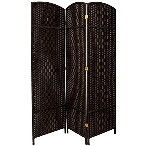Wooden Folding Screen - Oriental Furniture 6 ft. Tall Diamond Weave Fiber Room Divider - Black - 3 Panel