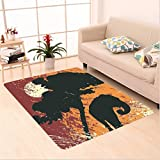 Nalahome Custom carpet lephant Africa Theme A Tree and an Elephant under Sunshine Illustration Print Black and Marigold area rugs for Living Dining Room Bedroom Hallway Office Carpet (5' X 8')