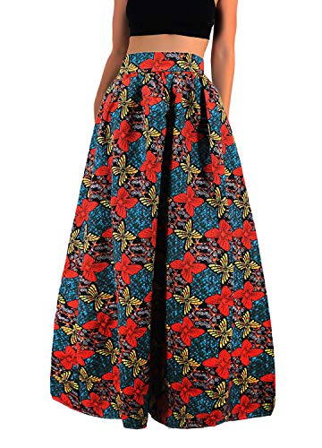 Novia's Choice Women African Floral Print Pleated High Waist Maxi Casual A-Line Skirt(Yellow&Red Flower L)