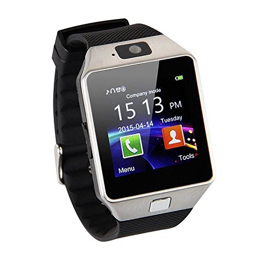 - Bluetooth Smart Watch Phone Mate GSM SIM For Android iPhone Samsung HTC LG (Silver)